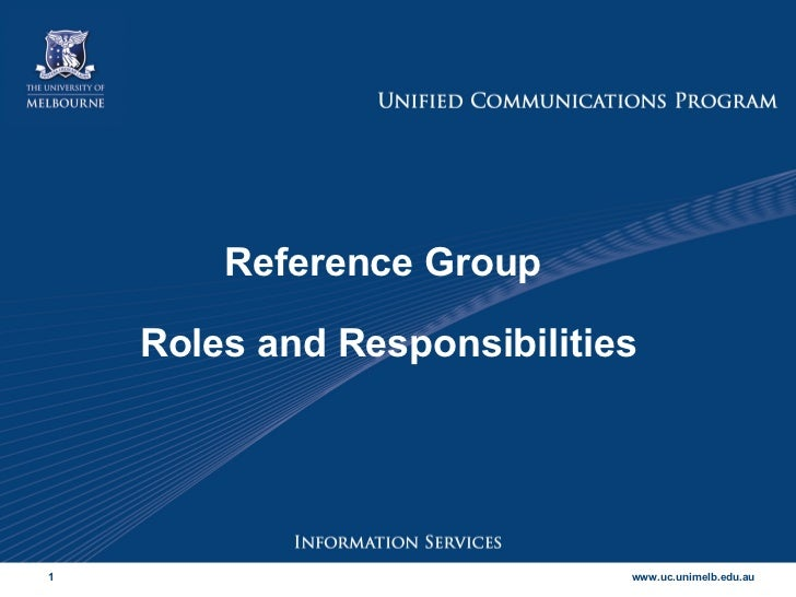 Reference Group  Roles and Responsibilities