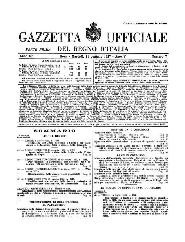 GAZZETTA  UF  DEL REGNO D'ITALIA  PARTE PRIMA Anno 68°  RoxA  Martedt,  -  getillaio  11  Abbonarxzent1. Anno  In Roma, sl...