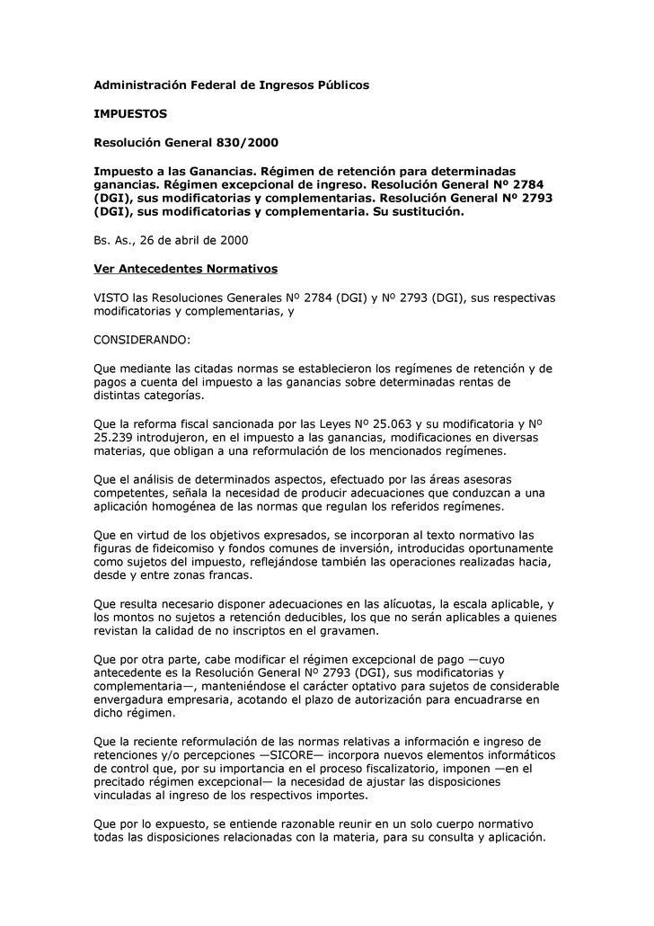 Administración Federal de Ingresos Públicos  IMPUESTOS  Resolución General 830/2000  Impuesto a las Ganancias. Régimen de ...