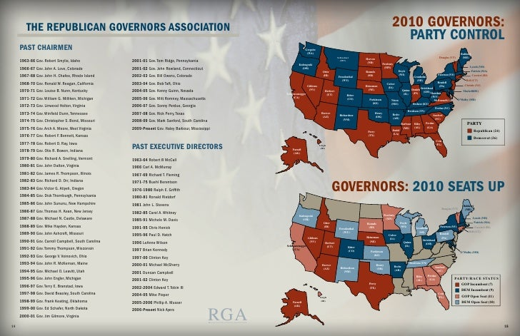 RGA Chairmans Report - Us map of republican governors