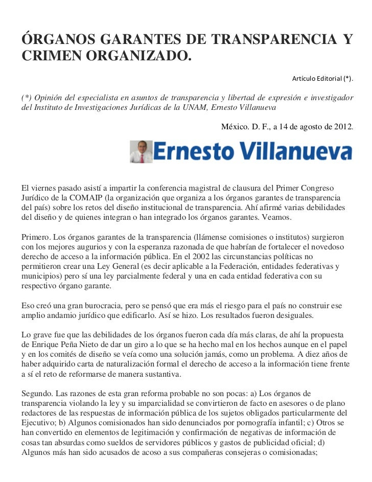 ÓRGANOS GARANTES DE TRANSPARENCIA YCRIMEN ORGANIZADO.                                                                     ...