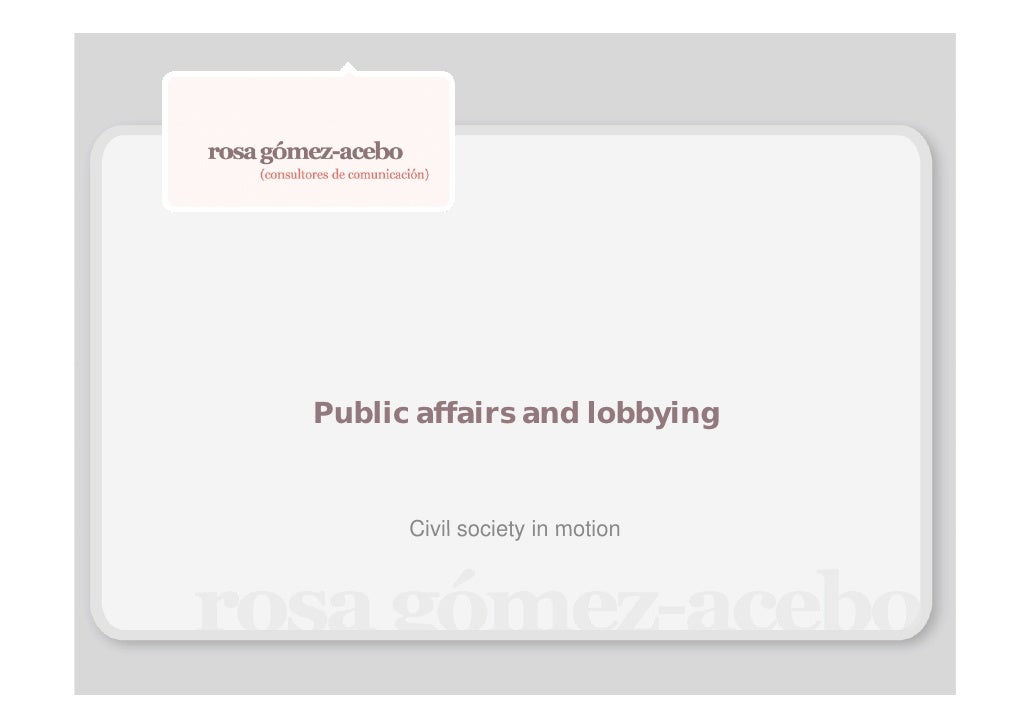 Public affairs and lobbying      Civil society in motion
