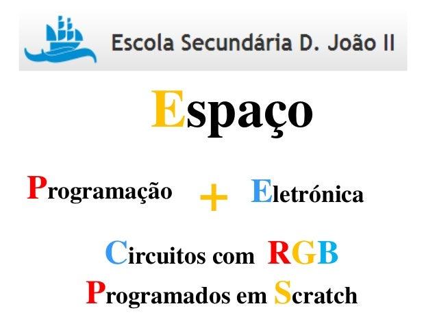 Programação Eletrónica+ Espaço Circuitos com RGB Programados em Scratch