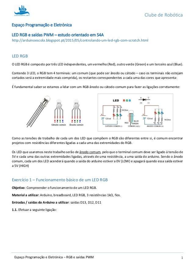 Clube de Robótica 1Espaço Programação e Eletrónica – RGB e saídas PWM Espaço Programação e Eletrónica LED RGB e saídas PWM...