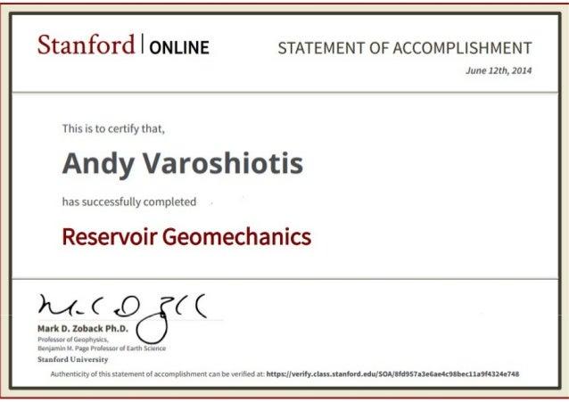 Stanford University Reservoir Geomechanics Certificate