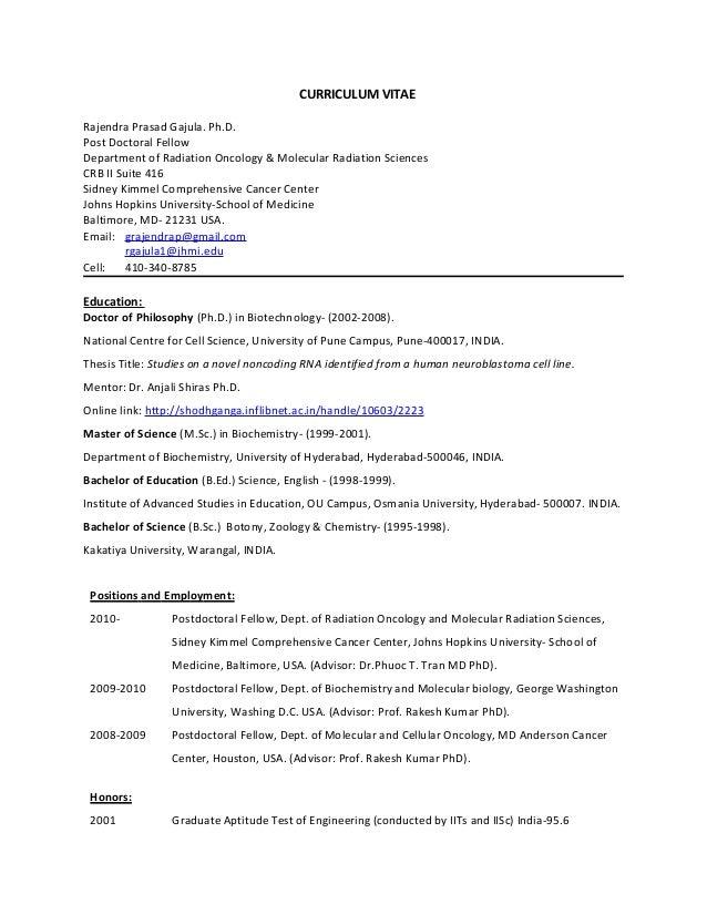 Curriculum Vitae Rajendra Gajula