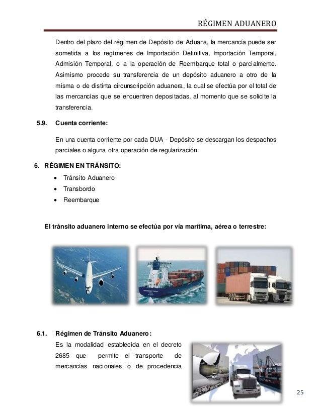 RÉGIMEN ADUANERO 25 Dentro del plazo del régimen de Depósito de Aduana, la mercancía puede ser sometida a los regímenes de...