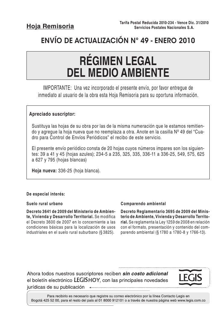 Tarifa Postal Reducida 2010-234 - Vence Dic. 31/2010Hoja Remisoria                                                Servicio...