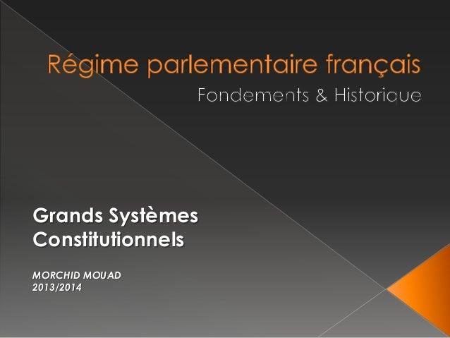 Grands Systèmes Constitutionnels MORCHID MOUAD 2013/2014