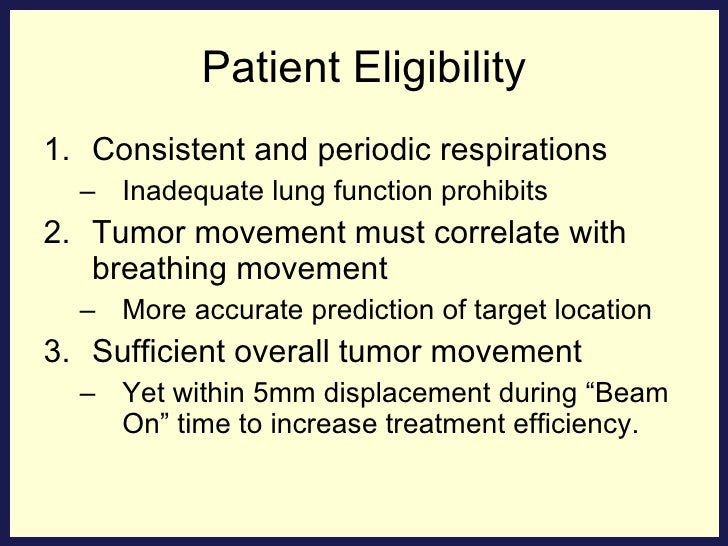 Patient Eligibility <ul><li>Consistent and periodic respirations </li></ul><ul><ul><li>Inadequate lung function prohibits ...