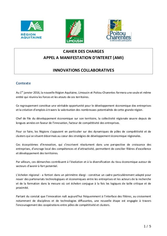 1 / 5                 CAHIER DES CHARGES  APPEL A MANIFESTATION D'INTERET (AMI)    INNOVATIONS COLLABORATIVES  Contexte   ...