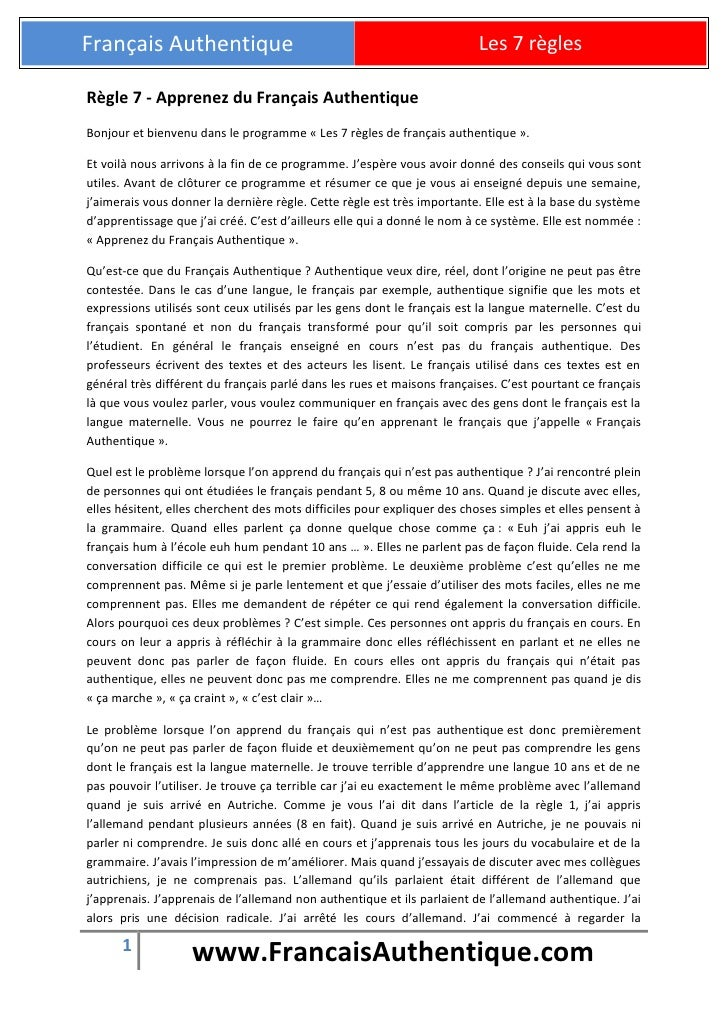 Français Authentique                                                     Les 7 règlesRègle 7 - Apprenez du Français Authen...