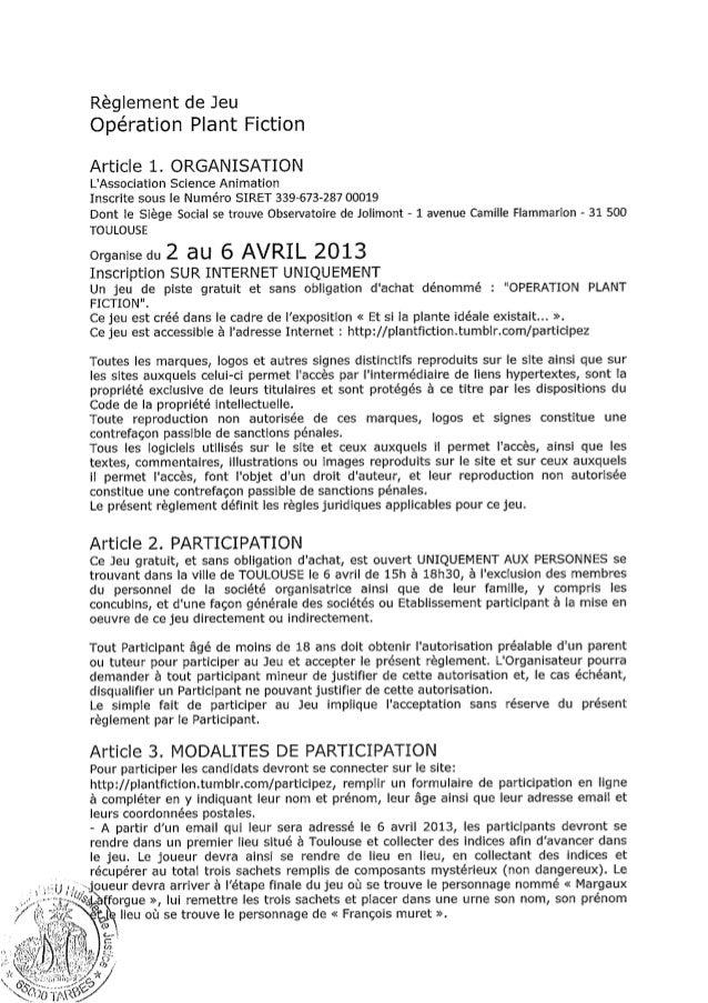 """Règlement du jeu """"Opération Plant Fiction"""""""