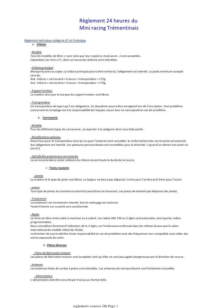 Règlement 24 heures du                                             Mini racing Trémentinais Règlement technique catégorie ...