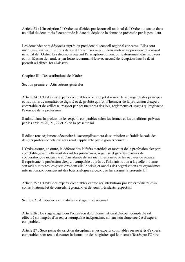 Reglementant La Profession D Expert Comptable Et ...
