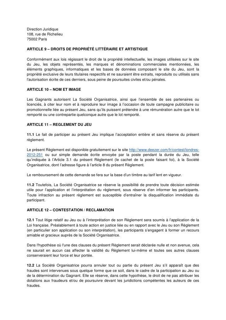 Direction Juridique108, rue de Richelieu75002 ParisARTICLE 9 – DROITS DE PROPRIÉTÉ LITTÉRAIRE ET ARTISTIQUEConformément au...