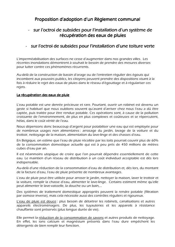 Proposition d'adoption d'un Règlement communal         - sur l'octroi de subsides pour l'installation d'un système de     ...