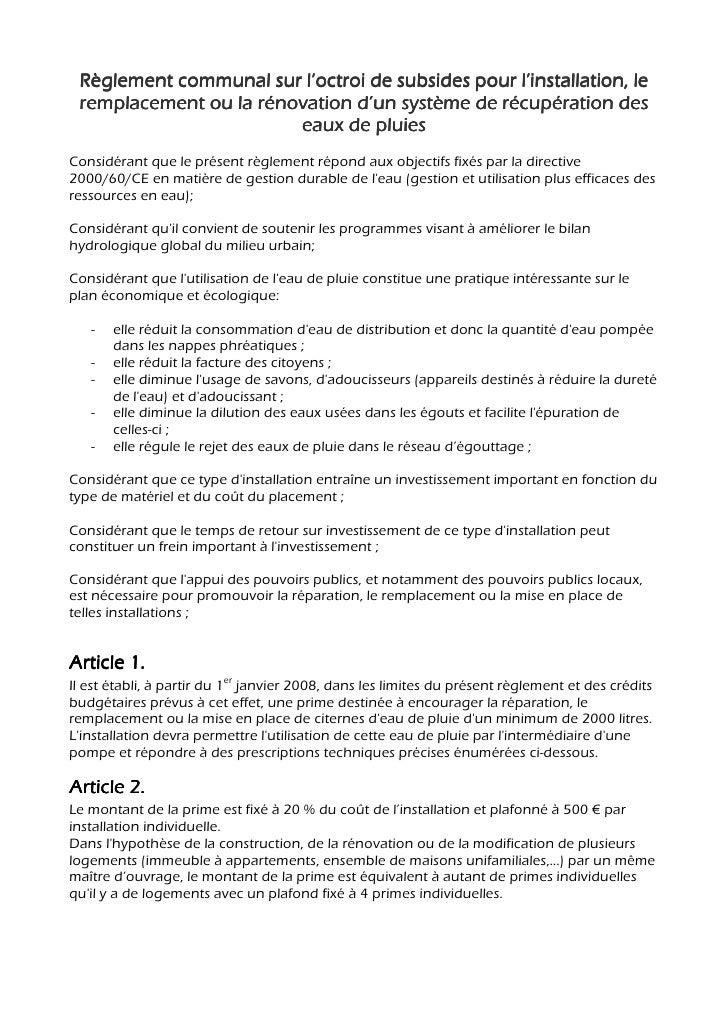 Utilisation Eau De Pluie Maison Michel Pters Conseiller Communal