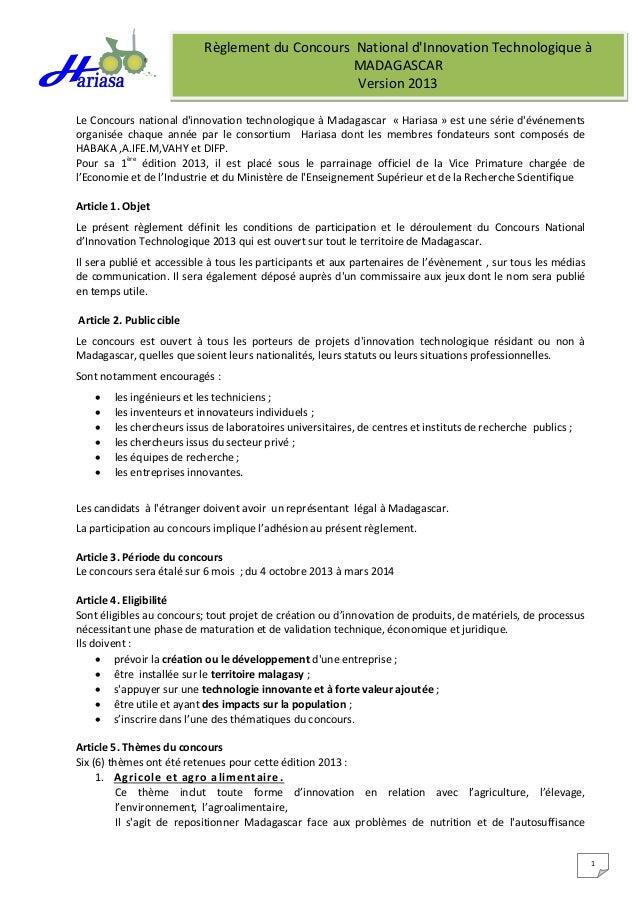 Règlement du Concours National d'Innovation Technologique à MADAGASCAR Version 2013 1 Le Concours national d'innovation te...