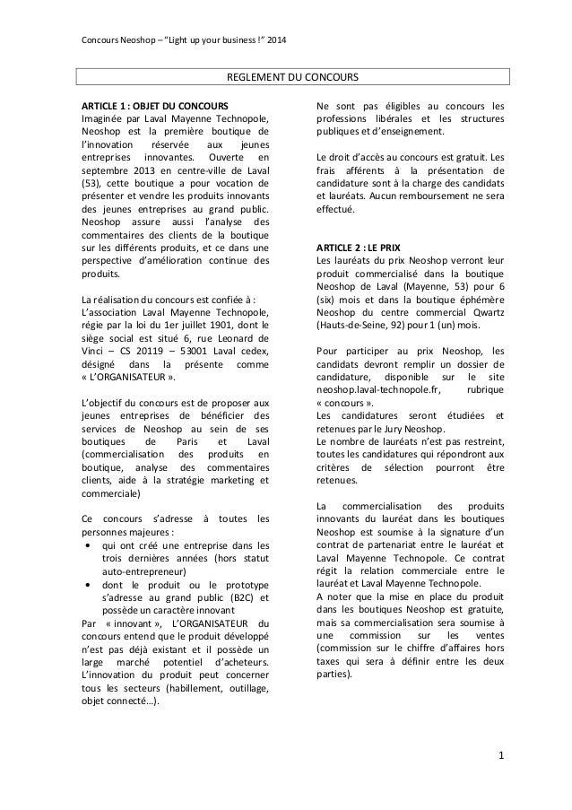 """Concours Neoshop – """"Light up your business !"""" 2014 1 REGLEMENT DU CONCOURS ARTICLE 1 : OBJET DU CONCOURS Imaginée par Lava..."""