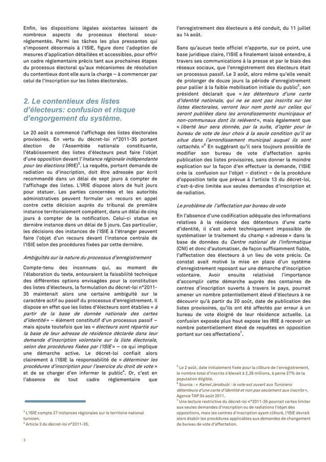 3 Enfin, les dispositions légales existantes laissent de nombreux aspects du processus électoral sous- règlementés. Parmi ...