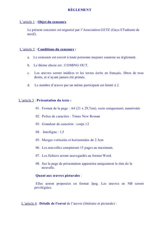 RÈGLEMENTL'article 1 : Objet du concours     Le présent concours est organisé par l'Association GETZ (Gays ETudiants de   ...