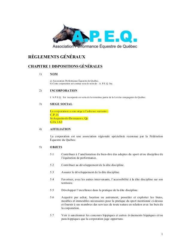 RÈGLEMENTS GÉNÉRAUXCHAPITRE 1 DISPOSITIONS GÉNÉRALES    1)   NOM         a) Association Performance Équestre de Québec.   ...