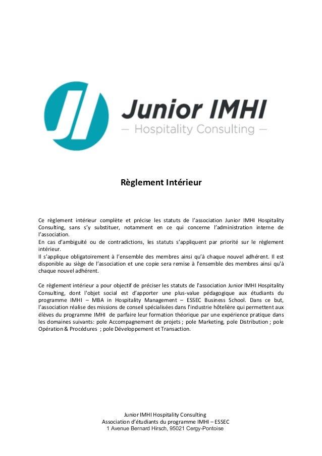 Junior  IMHI  Hospitality  Consulting     Association  d'étudiants  du  programme  IMHI  –  ESSEC  ...