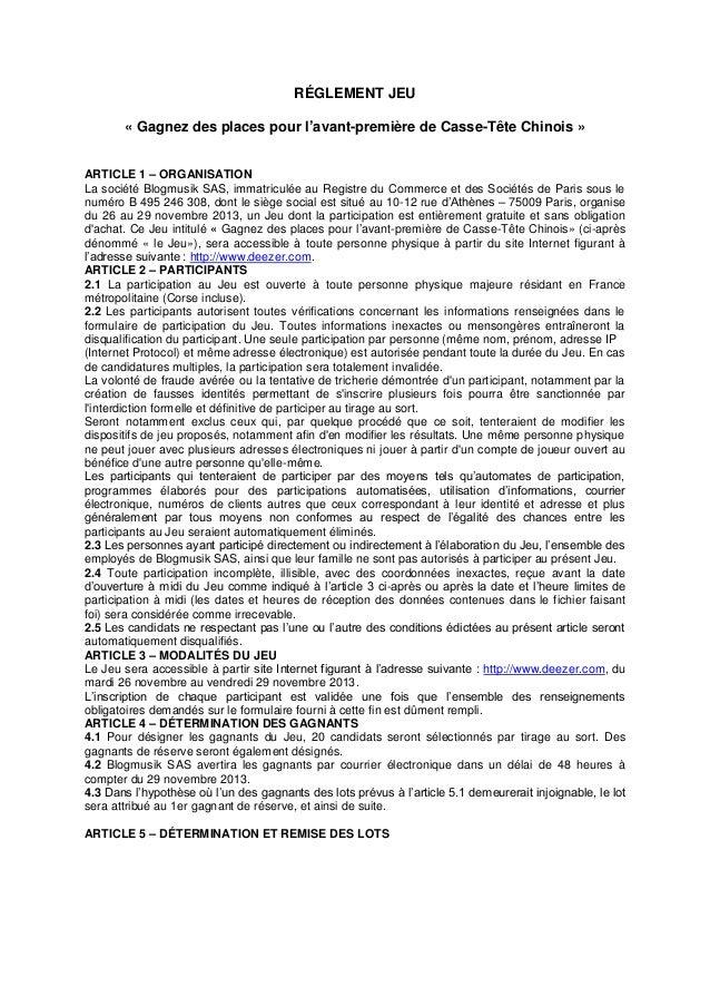RÉGLEMENT JEU « Gagnez des places pour l'avant-première de Casse-Tête Chinois » ARTICLE 1 – ORGANISATION La société Blogmu...