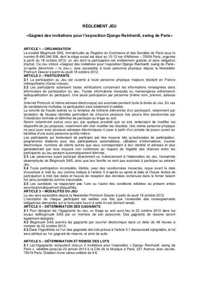 RÉGLEMENT JEU «Gagnez des invitations pour l'exposition Django Reinhardt, swing de Paris»ARTICLE 1 – ORGANISATIONLa sociét...
