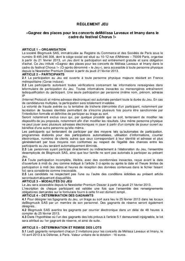 RÉGLEMENT JEU   «Gagnez des places pour les concerts deMélissa Laveaux et Imany dans le                         cadre du f...