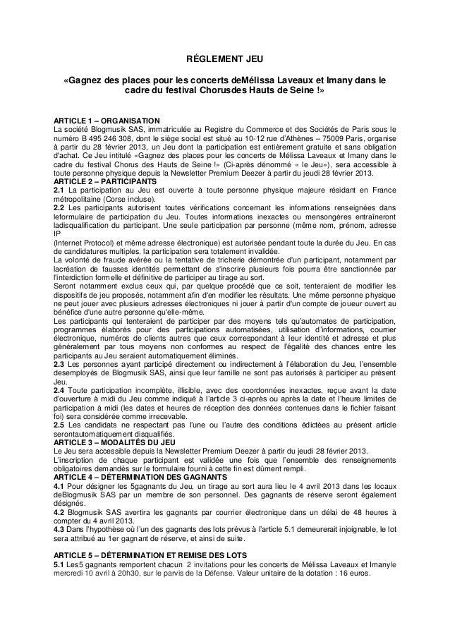 RÉGLEMENT JEU   «Gagnez des places pour les concerts deMélissa Laveaux et Imany dans le                cadre du festival C...