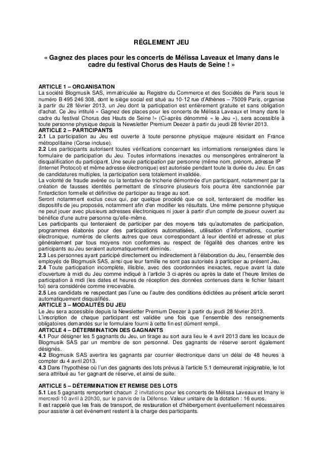 RÉGLEMENT JEU  « Gagnez des places pour les concerts de Mélissa Laveaux et Imany dans le               cadre du festival C...