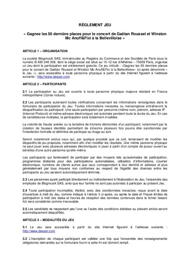 RÉGLEMENT JEU « Gagnez les 50 dernière places pour le concert de Gaëtan Roussel et Winston Mc Anuff&Fixi à la Bellevillois...