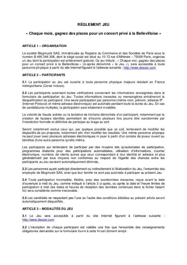 RÉGLEMENT JEU  « Chaque mois, gagnez des places pour un concert privé à la Bellevilloise »  ARTICLE 1 – ORGANISATION  La s...