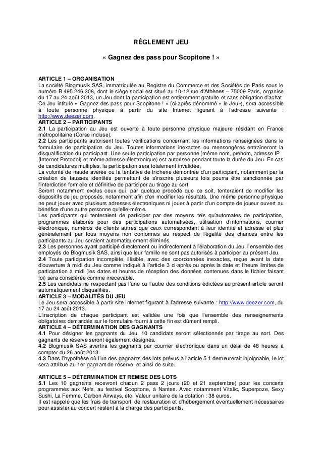RÉGLEMENT JEU « Gagnez des pass pour Scopitone ! » ARTICLE 1 – ORGANISATION La société Blogmusik SAS, immatriculée au Regi...