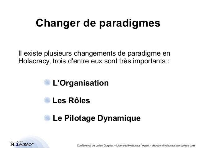 Changer de paradigmes  Il existe plusieurs changements de paradigme en  Holacracy, trois d'entre eux sont très importants ...