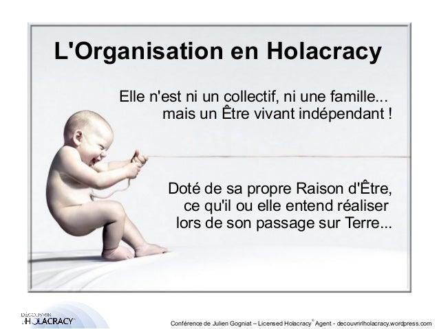 L'Organisation en Holacracy  Elle n'est ni un collectif, ni une famille...  ®  mais un Être vivant indépendant !  Doté de ...