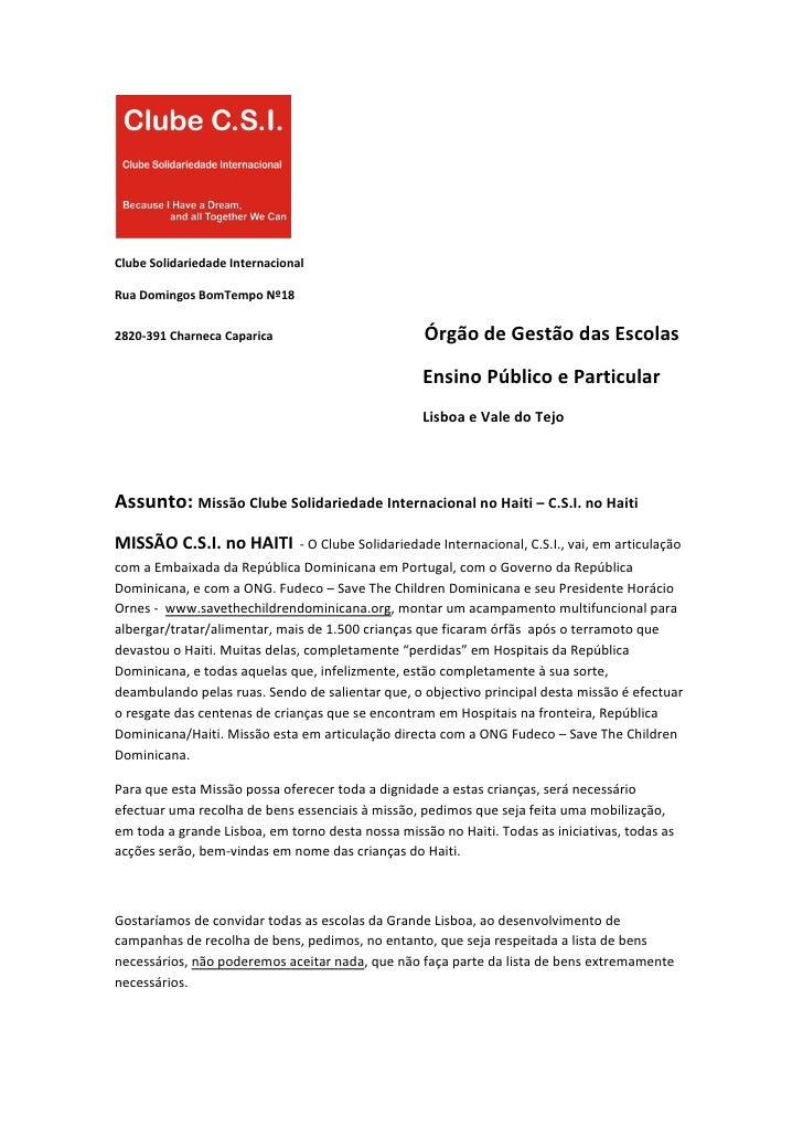 ClubeSolidariedadeInternacional  RuaDomingosBomTempoNº18  2820‐391CharnecaCaparica...