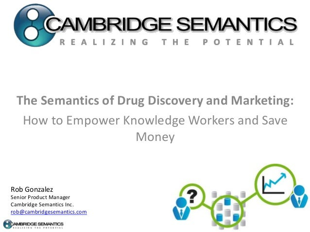 The Semantics of Drug Discovery and Marketing: How to Empower Knowledge Workers and Save Money Rob Gonzalez Senior Product...