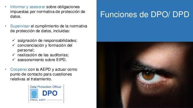 Funciones de DPO/ DPD RGPD • Informar y asesorar sobre obligaciones impuestas por normativa de protección de datos. • Supe...