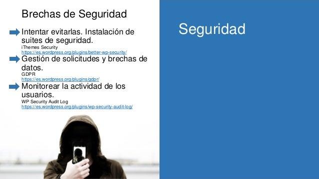 Brechas de Seguridad Intentar evitarlas. Instalación de suites de seguridad. iThemes Security https://es.wordpress.org/plu...
