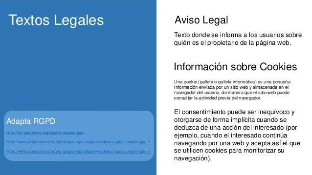 Aviso LegalTextos Legales Información sobre Cookies El consentimiento puede ser inequívoco y otorgarse de forma implícita ...