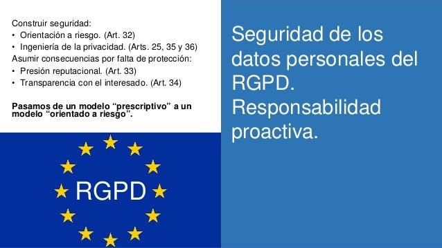 Seguridad de los datos personales del RGPD. Responsabilidad proactiva. Construir seguridad: • Orientación a riesgo. (Art. ...