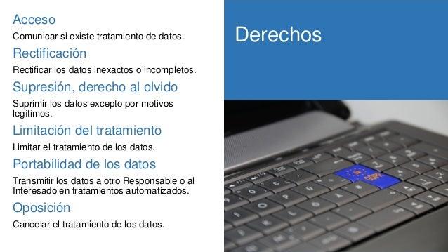 Derechos RGPD Acceso Comunicar si existe tratamiento de datos. Rectificación Rectificar los datos inexactos o incompletos....