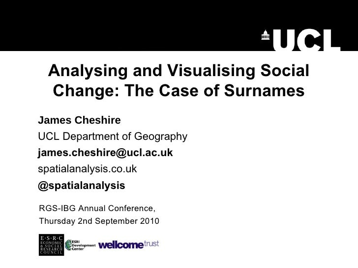 Analysing and Visualising Social Change: The Case of Surnames RGS-IBG Annual Conference, Thursday 2nd September 2010 James...
