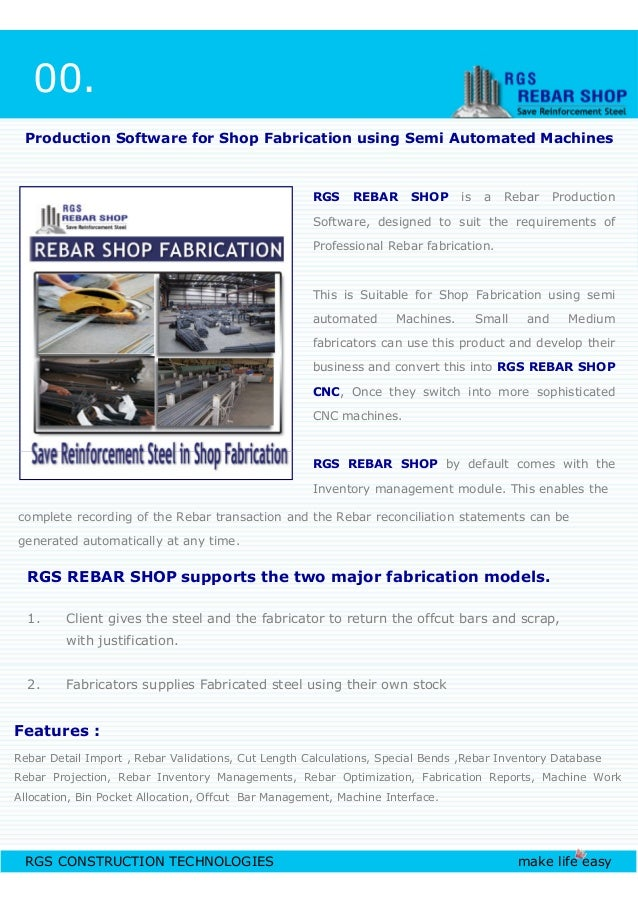 RGS REBAR SHOP is a Rebar Production Software, designed to suit the requirements of Professional Rebar fabrication. This i...