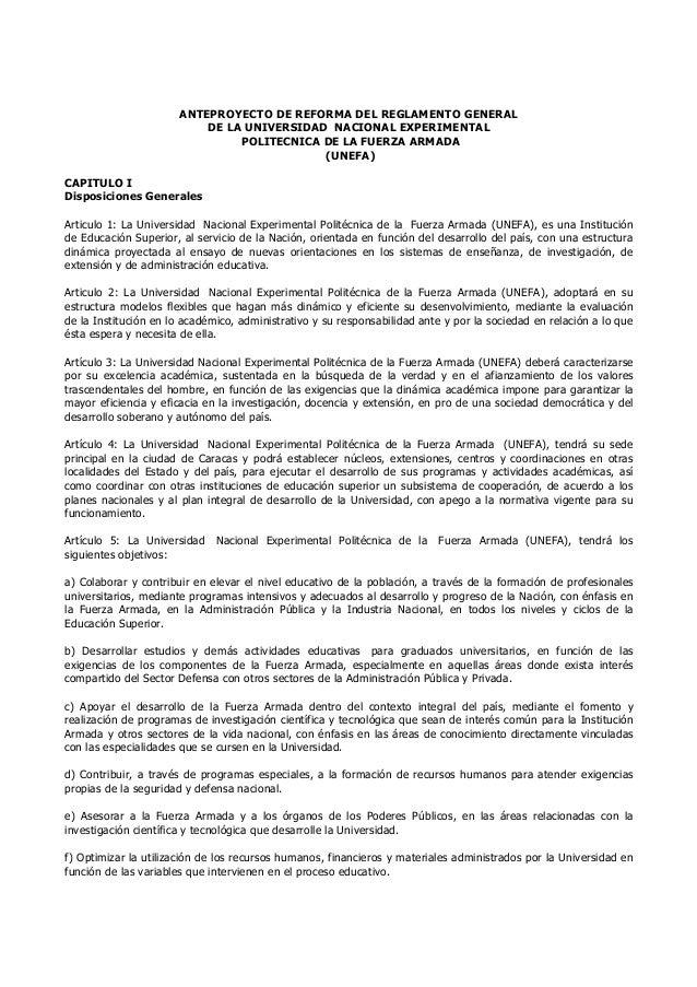 ANTEPROYECTO DE REFORMA DEL REGLAMENTO GENERAL DE LA UNIVERSIDAD NACIONAL EXPERIMENTAL POLITECNICA DE LA FUERZA ARMADA (UN...