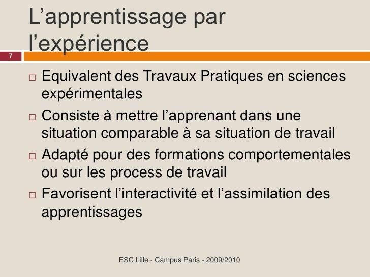 L'apprentissage par     l'expérience 7           Equivalent des Travaux Pratiques en sciences               expérimentale...