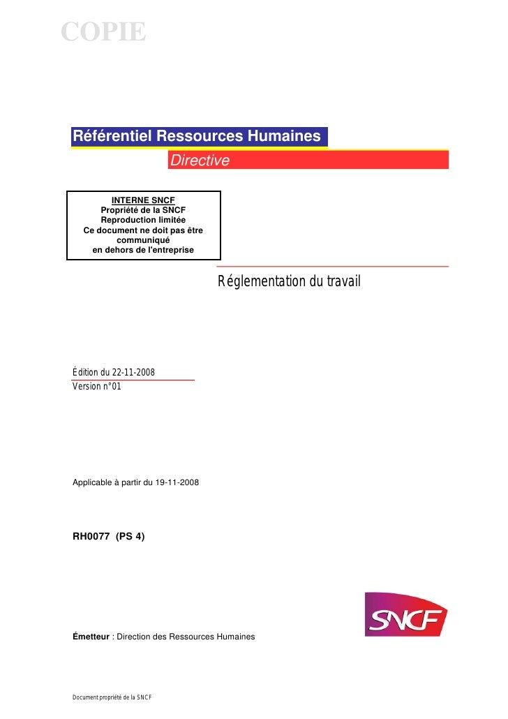 COPIERéférentiel Ressources Humaines                                Directive         INTERNE SNCF       Propriété de la S...